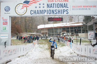Short Track Division 2 Men.  USA Cycling Collegiate Mountain Bike National Championships Oct. 25 - Beech Mountain, NC.  Photo by Weldon Weaver.   Select and share.