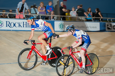 Andrew Armstrong (Matrix Cycling Club).   2014 USAC TrackNats Rock Hill, SC.  Photo by Weldon Weaver.