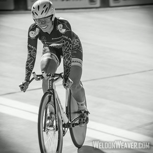 Korina Huizar wins the National Championship Points Race.  2014 Track Nates.  Giordana Velodrome.  Photo by Weldon Weaver.
