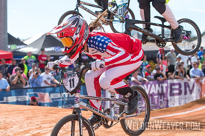 Alise Post.  Novant Health BMX Supercross March, 2015.  Photo by Weldon Weaver.