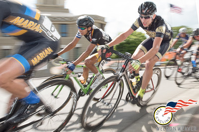Jonah Mead-vancort in the break en route to winning the 2016 Division I Collegiate National Criterium Championship Marshall, NC