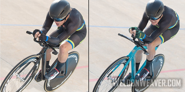 STRONG, Hayden vs  BICKMORE, Cade. 2019 USA Cycling Collegiate Track Nationals. Rock Hill, SC.  Photo by Weldon Weaver.