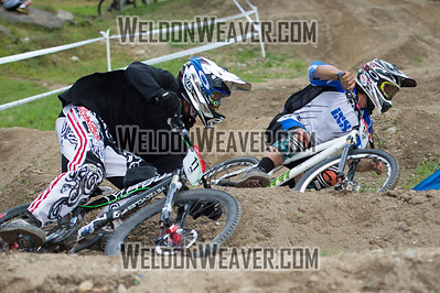 2012 USACycling Gravity Nationals.  #11R Cody Johnson SAN DIEGO,CA  v. #15R Michael Haderer CONCORD CA. M Pro Qualifying Photo by Weldon Weaver.