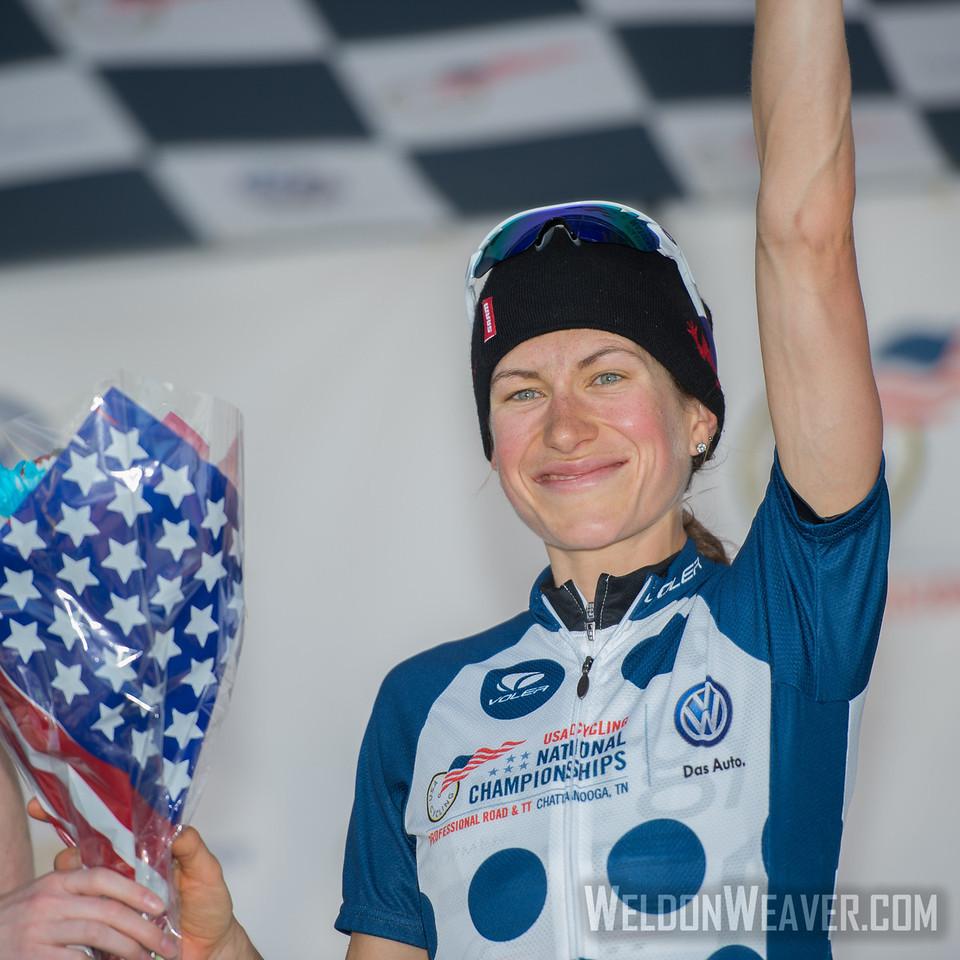 Mara Abbott, QOM,  2013 US Pro Championships.  Chattanooga, TN.  Photo by Weldon Weaver.