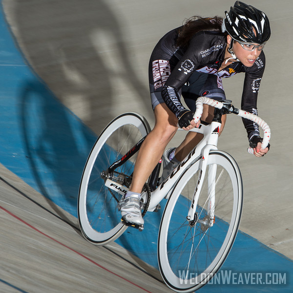 Marie Schmader.  Giordana Velodrome.  June 28, 2013.  Photo by Weldon Weaver.
