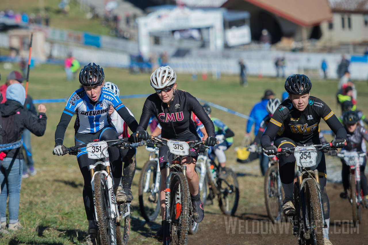Cross Country Division 1 and Division 2 Women.  USA Cycling Collegiate Mountain Bike National Championships<br /> Oct. 26 - Beech Mountain, NC.  Photo by Weldon Weaver.