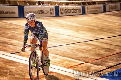 Korina Huizar wins the National Championship Points Race.  2014 Track Nats.  Giordana Velodrome.  Photo by Weldon Weaver.
