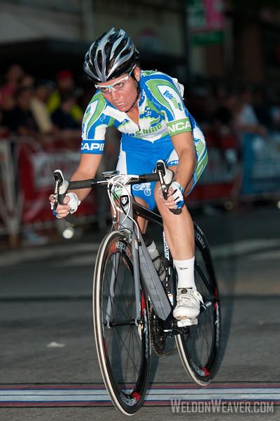 Sara Tussey (VeloShine Cycling Team) attacks the field.  2012 Terrapin Twilight Women's race.