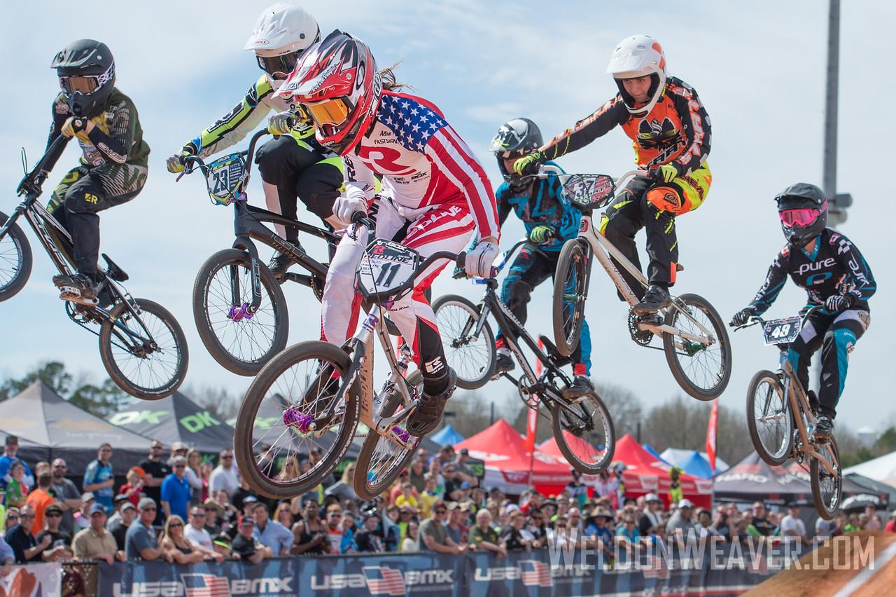 Alise Post.  Novant Health BMX Supercross March, 2015.  Photo by Weldon Weaver.