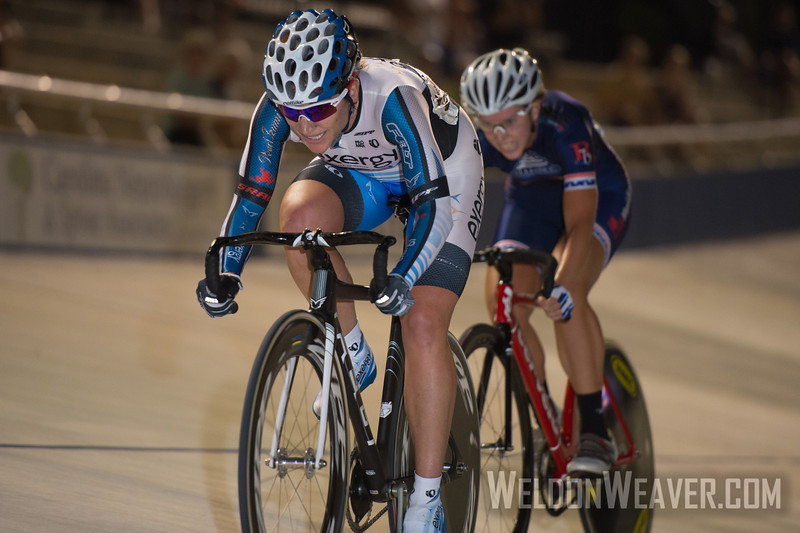 Photo by Weldon Weaver.  Cari Higgins (Exergy Twenty12) takes the sprint over Kim Geist (Chester Country Cyclists)  to win the Elimination race. 2012 USA Cycling Elite Omnium Track National  Championships. August 17, 2012. Rock Hill, S.C.