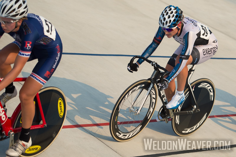 Cari Higgins (Exergy Twenty12) marks Kim Geist (Chester County Cycling) in the Scratch race.  2012 USA Cycling Elite Omnium Track National Championships. August 18, 2012. Rock Hill, S.C.   Photo by Weldon Weaver.