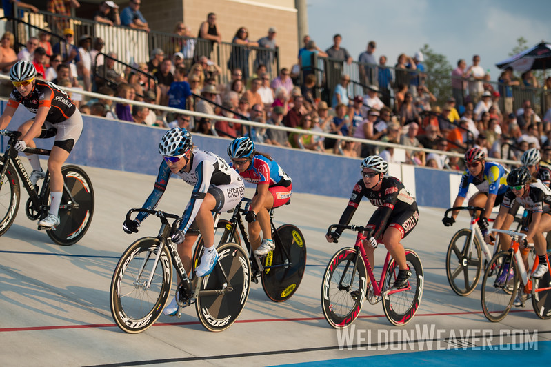 Women's Scratch Race.  2012 USA Cycling Elite Omnium Track National Championships. August 18, 2012. Rock Hill, S.C.   Photo by Weldon Weaver.