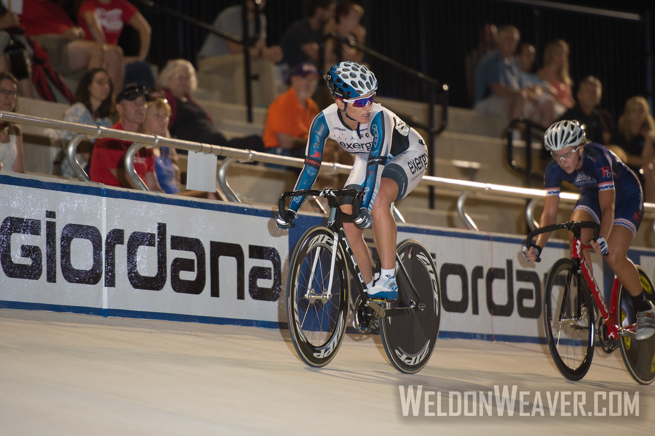 Photo by Weldon Weaver.  Cari Higgins (Exergy Twenty12) marks Kim Geist (Chester Country Cyclists)  in the Elimination race. 2012 USA Cycling Elite Omnium Track National  Championships. August 17, 2012. Rock Hill, S.C.