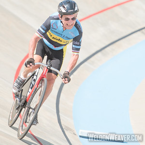 Carl Grove #100. USA Cycling 2015 Masters Track Nationals.  Rock Hill, SC.  Tuesday July 21, 2015.  Photo by Weldon Weaver.