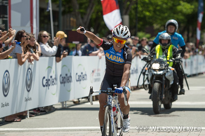 Coryn Rivera win the 2014 Collegiate Nationals road race for Marian University in Richmond.  Photo by Weldon Weaver.