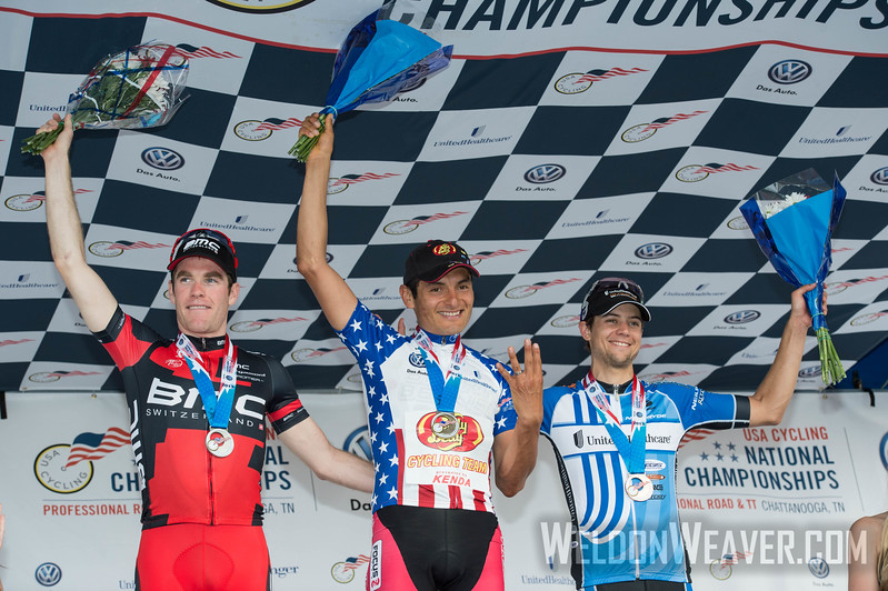 Freddie Rodriguez, Brent Bookwalter, Kiel Reijnan.  2013 US Pro Championships.  Chattanooga, TN.  Photo by Weldon Weaver.
