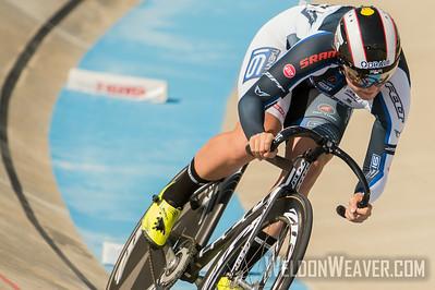 Jennifer Valente wins the 2014 Track Nats Omnium at Rock Hill.  Photo by Weldon Weaver.