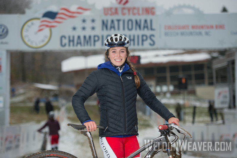 USA Cycling Collegiate Mountain Bike National Championships<br /> Oct. 25-27 - Beech Mountain, NC.  Division I Women.  Winner Kate Courtney, Stanford University.   Photo by Weldon Weaver.