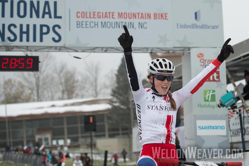 USA Cycling Collegiate Mountain Bike National Championships<br /> Oct. 25-27 - Beech Mountain, NC.  Division I Women.  Photo by Weldon Weaver.