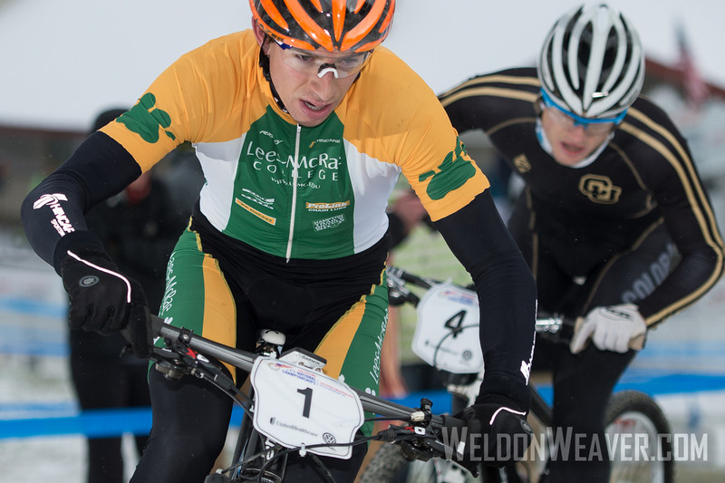 Kerry Warner easily won the Division 1 omnium. This photo is from the short track race race.   USA Cycling Collegiate Mountain Bike National Championships<br /> Oct. 25 - Beech Mountain, NC.  Photo by Weldon Weaver.   Select and share.