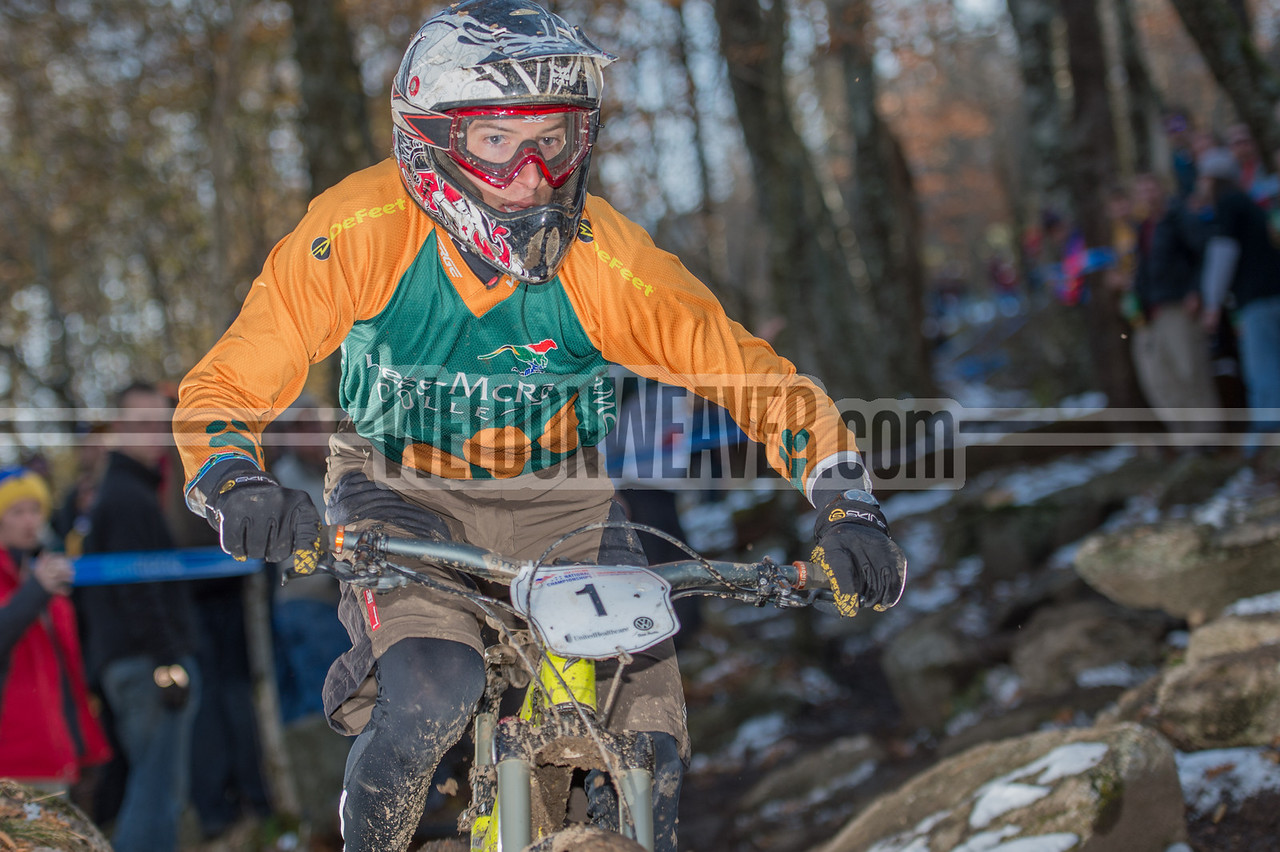 Downhill Division 1 and Division 2 Men.  USA Cycling Collegiate Mountain Bike National Championships<br /> Oct. 26 - Beech Mountain, NC.  Photo by Weldon Weaver.
