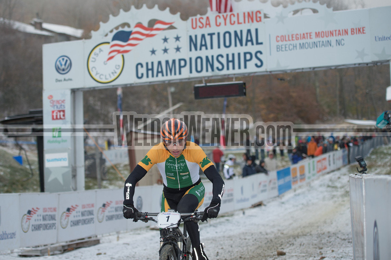 Short Track Division 1 Men.  USA Cycling Collegiate Mountain Bike National Championships<br /> Oct. 25 - Beech Mountain, NC.  Photo by Weldon Weaver.