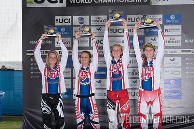 USA podium celebrations at the 2017 BMX World Challenge in Rock Hill, SC (USA).