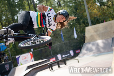 Perris Benegas, first place. 2019 BMX Freestyle UCI C1. Cary, NC. USA. Photo by Weldon Weaver.
