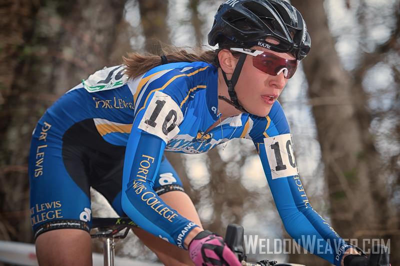 Sofia Gomez-Villafañe attacks and wins the 2016 Collegiate Cyclo-cross National Championship.  Biltmore Estate.