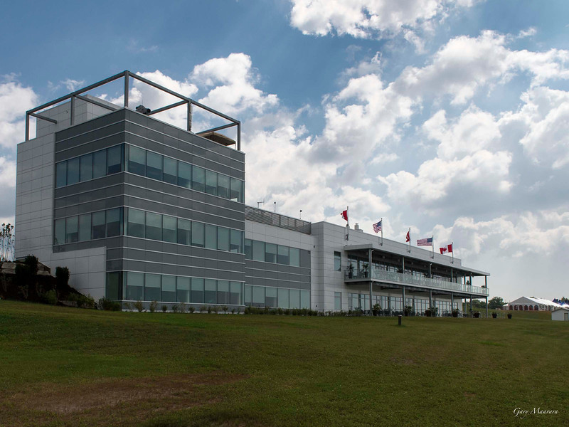 Mosport became Canadian Tire Motorsport Park last year (2012) and there were important improvements made to the main tunnel and bridges but this past winter (2012-13) saw some dramatic changes.  The most significant was the addition of this main administration building which is a gem.  It is another product of the creative team at Quadrangle Architects who built Corus Quay.
