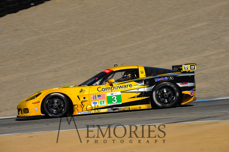 2011: Olivier Beretta, Tommy Milner and Antonio Garcia driving the Corvette Racinging Corvette C6.R at the Mazda Raceway Laguna Seca American Le Mans series race.