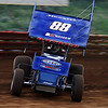 Danny Dietrich flies through  turn 3 sideways at Lincoln Speedway. Danny has won two features in his rookie year in 410 sprints.