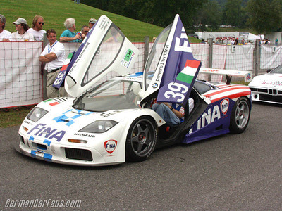That's me crammed into the McLaren F1 GTR for a ride with none other than Hans Stuck at Lime Rock Park.