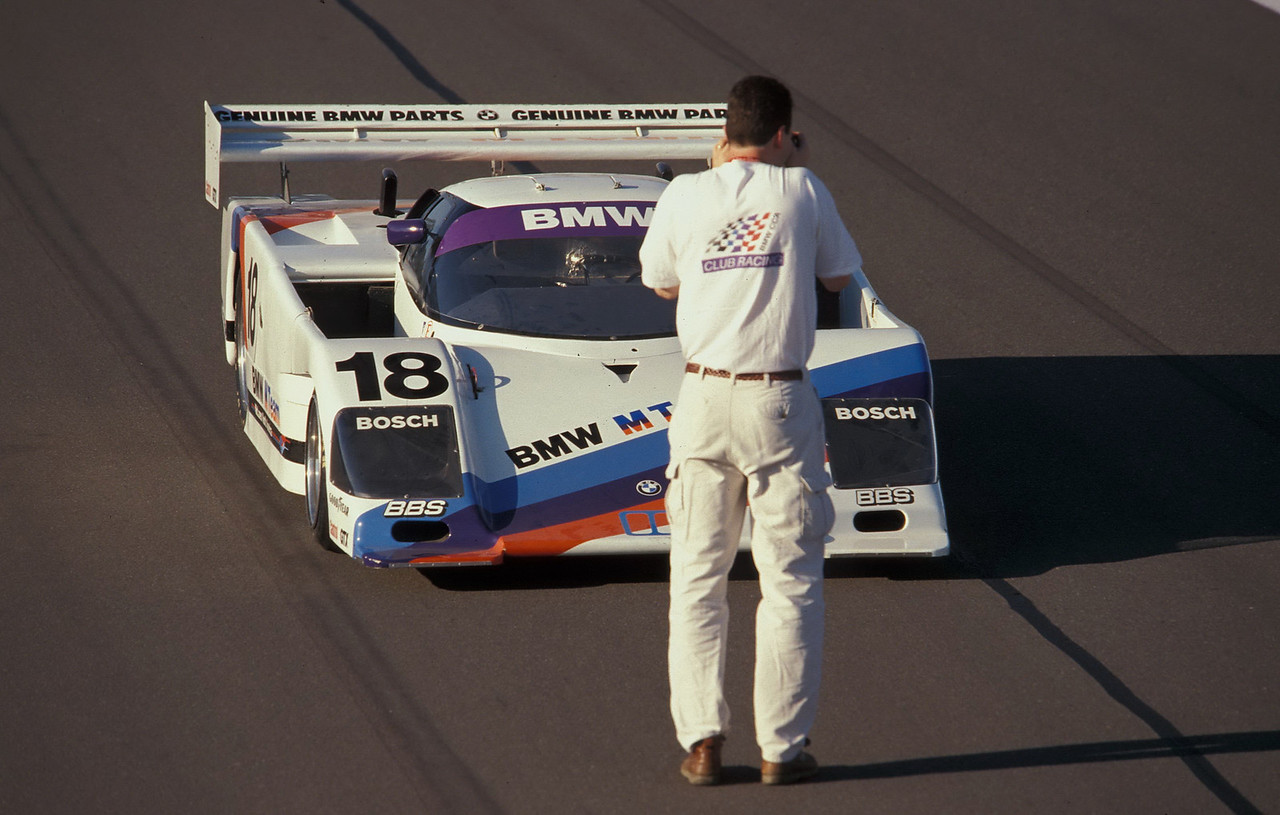 Shooting the BMW/March IMSA GTP car at Watkins Glen in 2002. This car was on display during the Watkins Glen Historics that year. The article I wrote on the car was published in Roundel magazine. (Klaus Schnitzer photo)