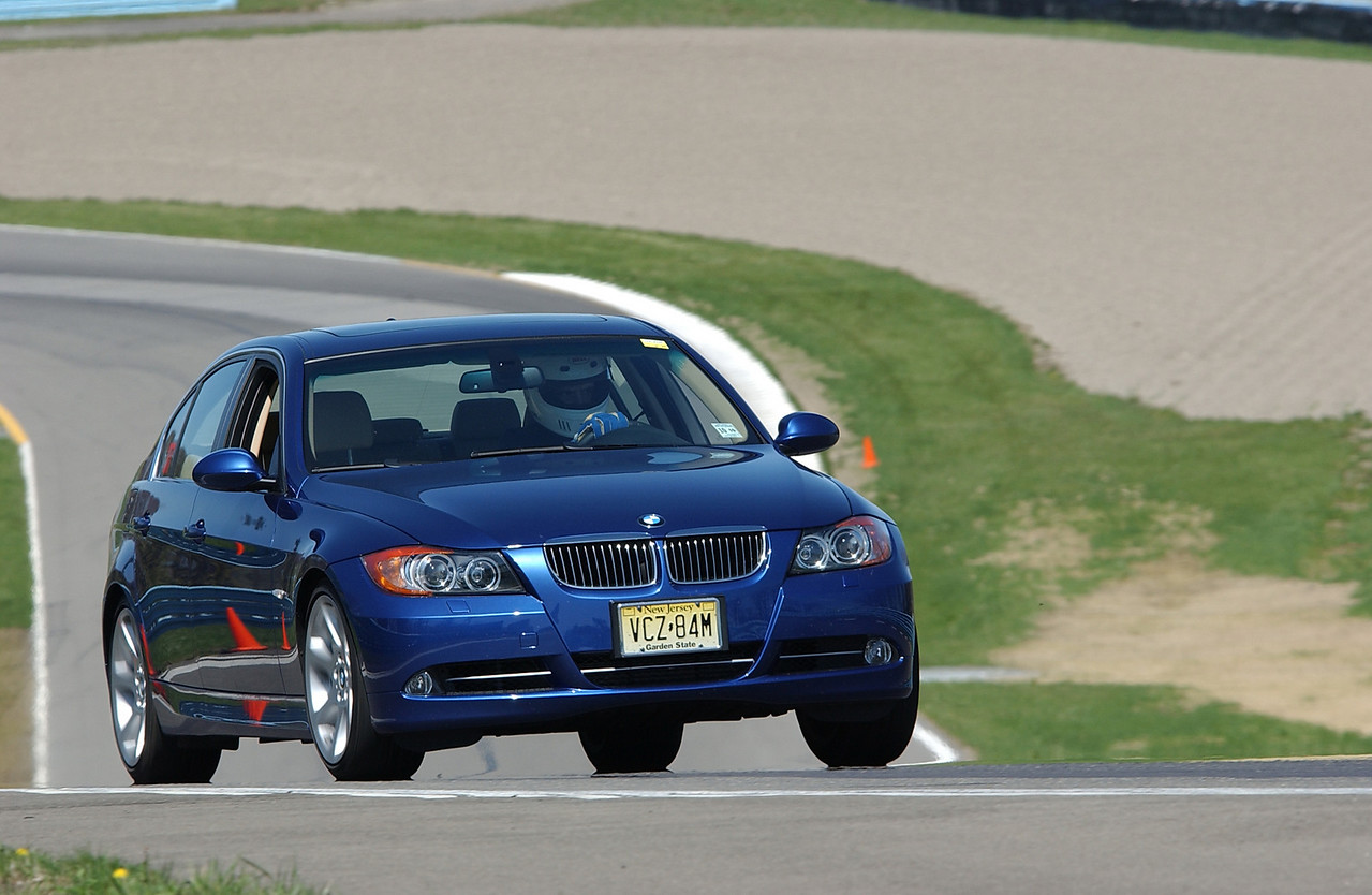 Driving the new BMW 335i sedan at Watkins Glen in 2007. This car was surprisingly good on the track, particularly since it was in stock form on street tires. Much of the track tests I do for the various magazines I write for are done at Watkins Glen, primarily with SCDA (Sports Car Driving Association) and Group 52.