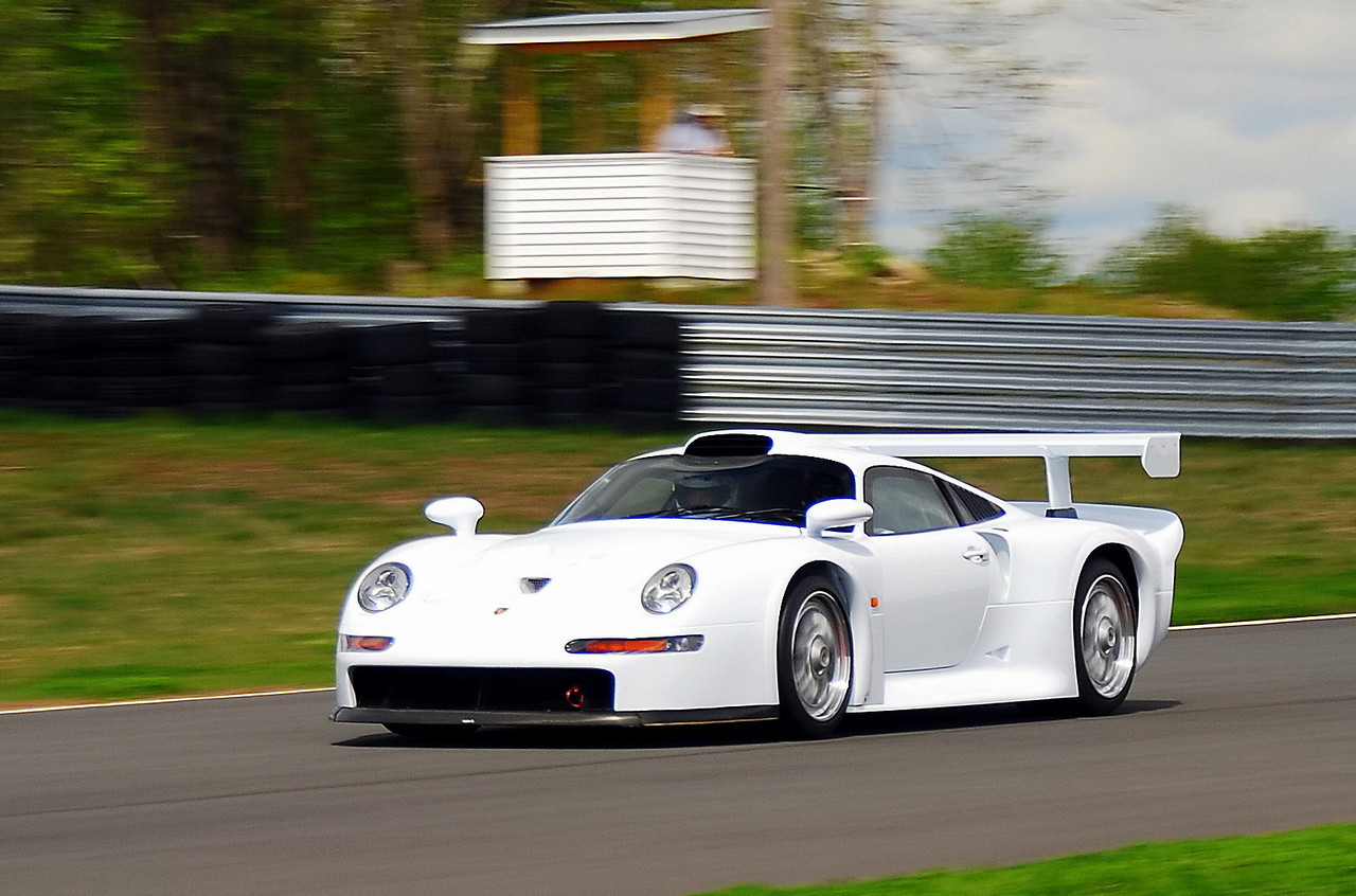 Riding in the Porsche 911 GT1 road car (one of two prototypes built to homologate for racing) at Monticello Motor Club. Awesome car to ride in and a beautiful car to photograph. (Greg Giacchi photo)