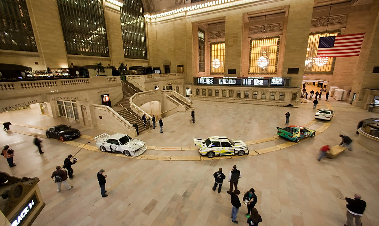 Shooting the installation of the BMW Art Cars in Grand Central Terminal in New York, March 2009.  (Jim Sulley/newscast)