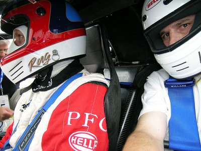 In the McLaren F1 GTR with Hans Stuck. That is Hans Stuck - he had to borrow a helmet from Rug Cunningham.