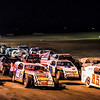 4 Wide salute to the fans. USMTS Casey's Cup race at Southern Oklahoma Speedway Ardmore Ok.