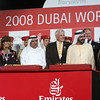 "IMG_0265.JPG<br /> Curlin's owner Jess Jackson, center, accompanied by Sheik Hamdan Bin Rashid Al Maktoum, left, and Sheik Mohammad Bin Rashid Al Maktoum after winning the ""Dubai World Cup"" race in Dubai, United Arab Emirates, Saturday March 2.  Trainer, Steve Asmussen stands to the right."