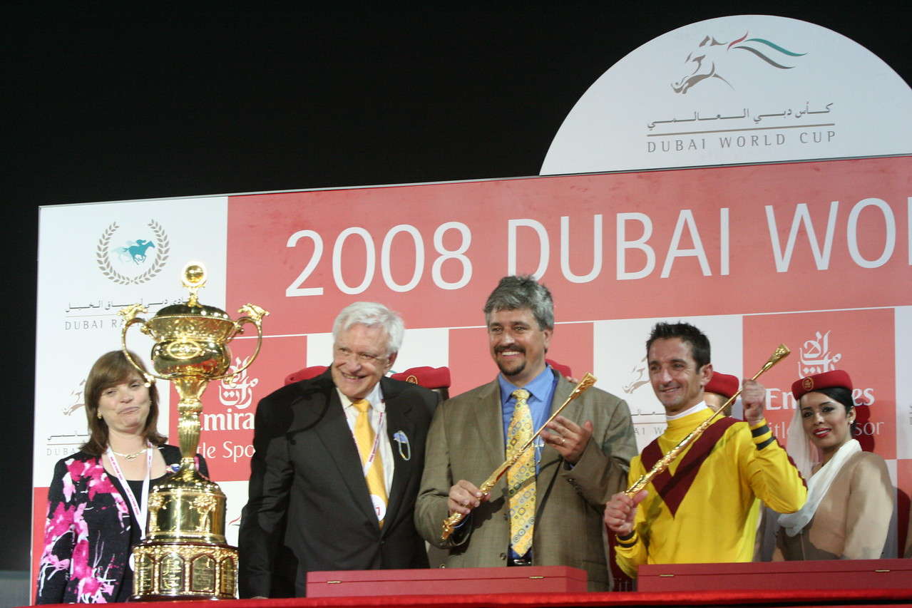 IMG_0294.JPG<br /> Curlin's owner,(next to Trophy) Jess Jackson, stands next to Trainer, Steve Asmussen, and Jockey, Robby Albarado <br /> after winning the Dubai World Cup, United Arab Emirates, Saturday March 2, 2008.