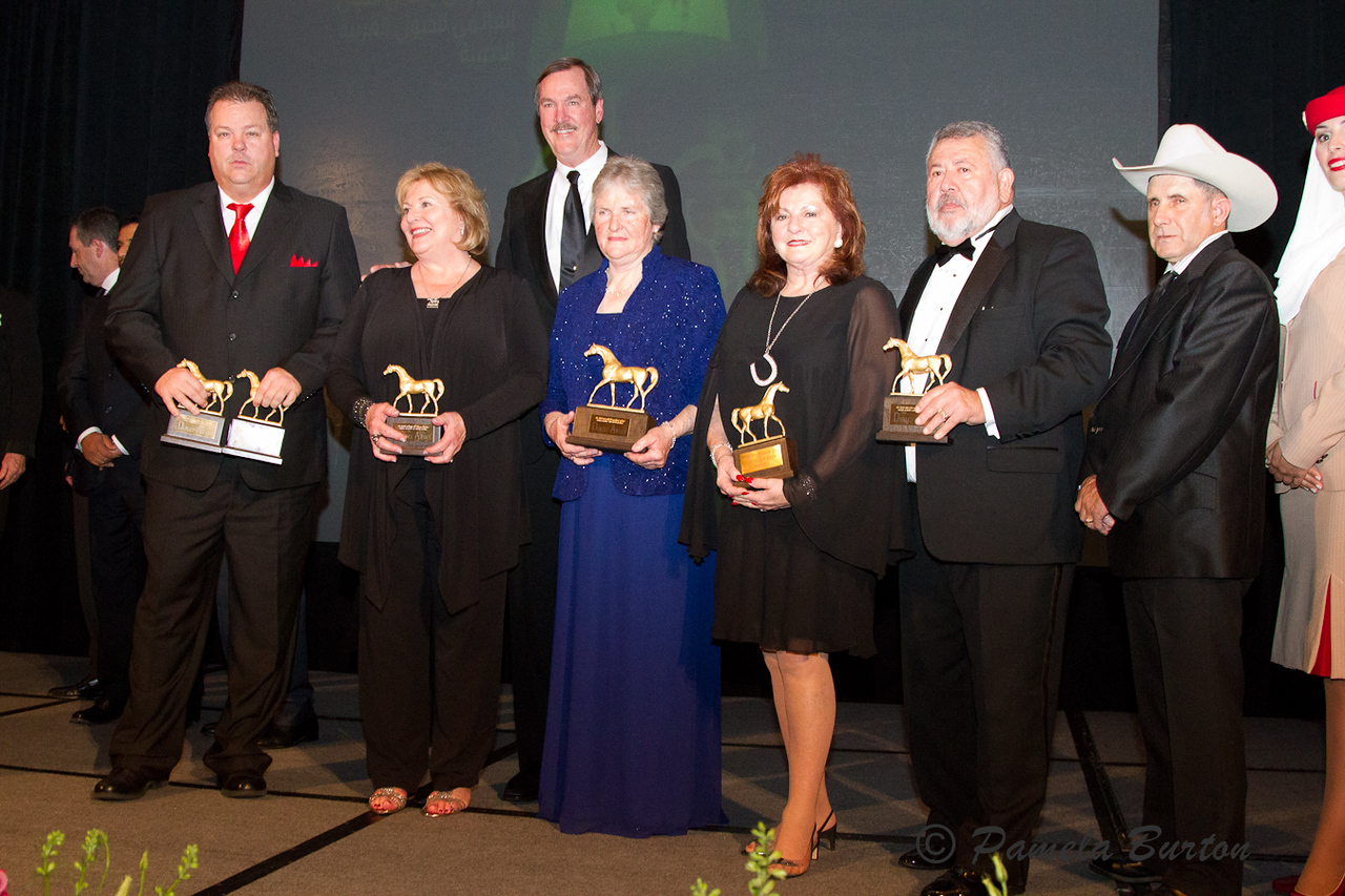 8 . (l-r) Mark Powell, trainer, So Big Is Better , Kathy Smoke, Paul Smoke, Sharon Clark, Rigbie Farm, Dianne Waldron, Rosebrook Farms, owner of Wycked, Sam Vasquez, Owner of the Year, Ron Martino, Trainer of the Year