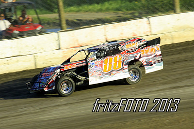 Clyde Dunn Jr. @ RPM Speedway, USMTS racing action. 6-28-13. Cruising down the back stretch!
