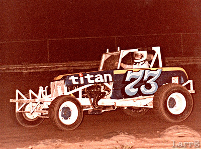 Larrie in  Modified at Wilmot, Wis..photo by Kathy McKay..May 28, 1983