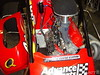 This midget engine is laid over in the Pedregon midget