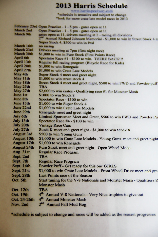 click on picture then enlarge to see Harris Speedways 2013 schedule.<br /> <br /> ...open picture by clicking on it, then in the upper left hand see L (large), XL (extra large), X2 (two times extra large), X3 (three times extra large), O ( Oh, my GOD!)
