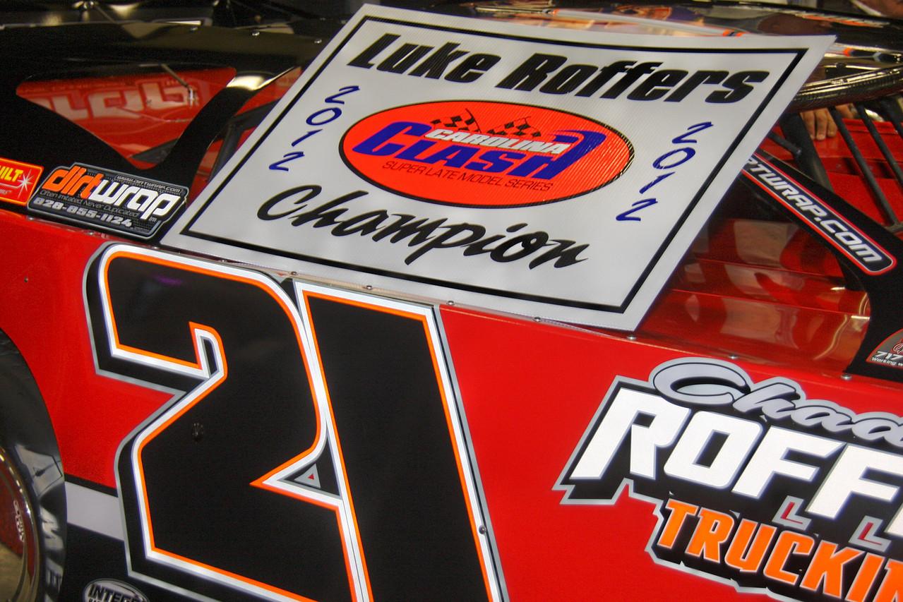 "Luke ""Cheese-Head"" Roffers had his Carolina Clash Championship car on display"