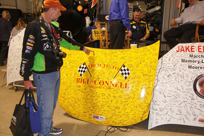 Nationaly known race fan Ted Barnes points to his name on the Bill Connell hood (from 2006)