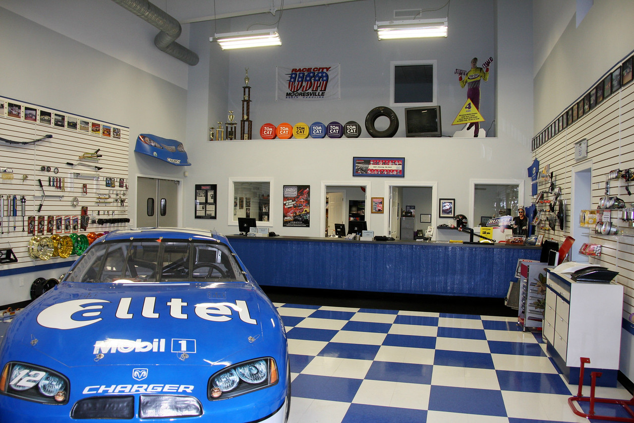 Carolina Racering Supply has a NASCAR racer on display in the lobby.