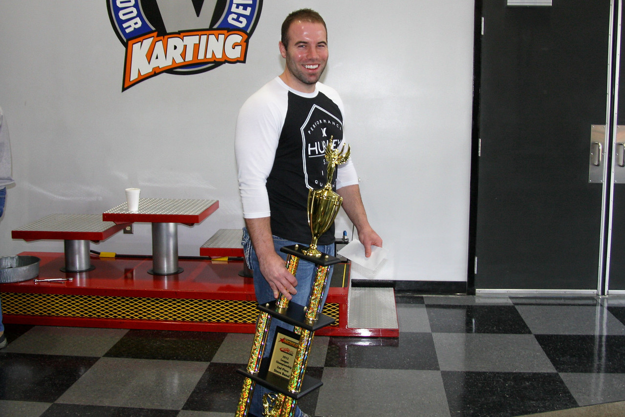 Steve Banal with his 2nd place trophy from NDRA crate motor series